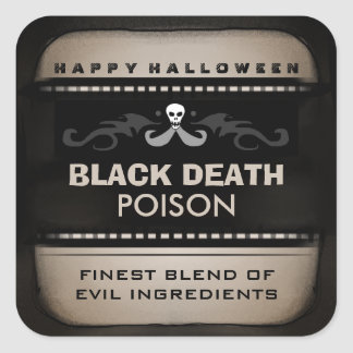 Halloween Drink Label - Brown Black Large Square Square Stickers