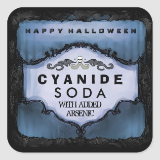 Halloween Drink Label - Eerie Blue Large Square Sticker