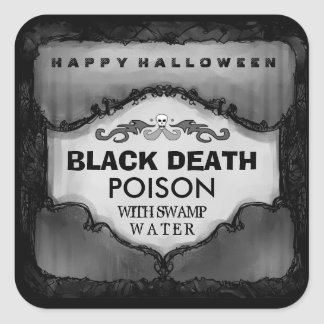 Halloween Drink Label - Gray Black Large Square Square Sticker