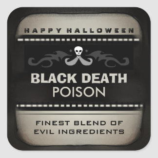 Halloween Drink Label - Tan Black Large Square Sticker