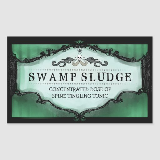 Halloween Drink or Treat Labels Large - Green Rectangle Sticker
