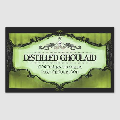 Halloween Drink or Treat Labels Large - Lime Green Rectangle Sticker