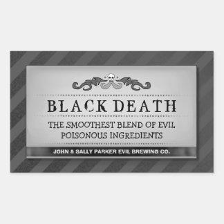 Halloween Drink Treat Labels Black Stripe Large Rectangular Sticker