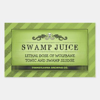 Halloween Drink - Treat Labels Green Stripe Large Rectangular Sticker