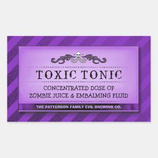 Halloween Drink - Treat Labels Purple Stripe Large Stickers