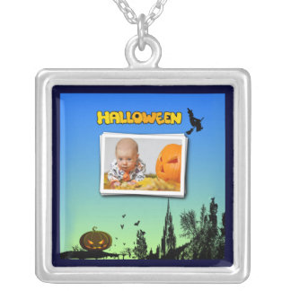 Halloween Dusk with Witch Add Photo Frame Square Pendant Necklace