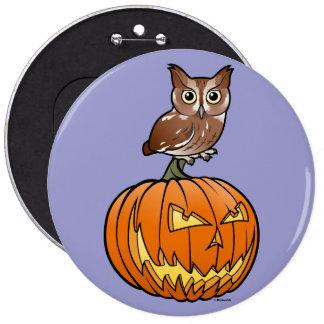 Halloween Eastern Screech Owl Pinback Button