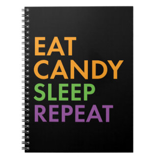 Halloween - Eat Candy, Sleep, Repeat - Novelty Spiral Notebook
