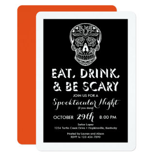 Halloween Eat, Drink, & Be Scary 3-D Invitations
