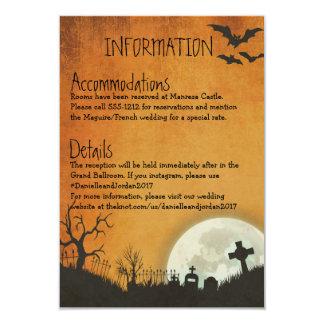 Halloween enclosure card for wedding in orange