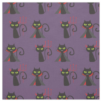 Halloween fabric black cats, Dracula cat