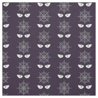 Halloween fabric spiderweb, devil eyes dark purple