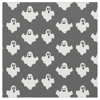 Halloween fabric with cute white ghosts