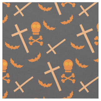 Halloween fabric with skulls, bats and the cross