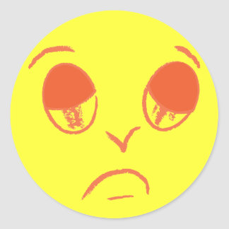 Halloween faces: Sad face. Round Stickers