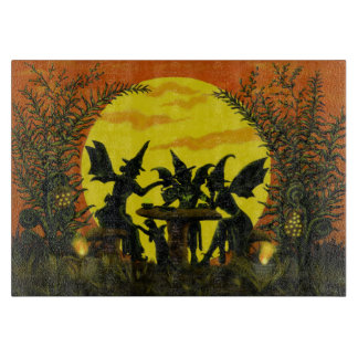 Halloween fairy witches glass cutting board