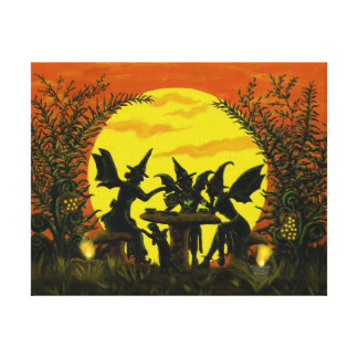 Halloween fairy witches wrapped canvas