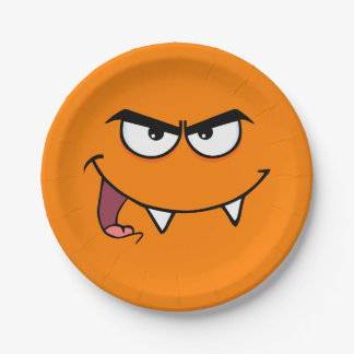 Halloween Fangs Monster Smiley Face Paper Plate
