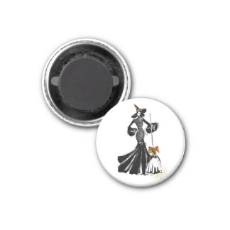 halloween fashion illustration with a broom magnet