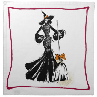 halloween fashion illustration with a broom napkin