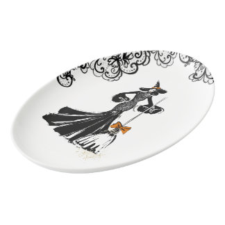 halloween fashion illustration with black lace porcelain serving platter