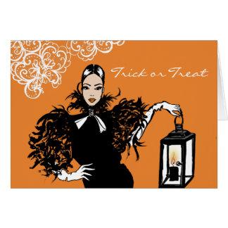halloween fashion illustration with lantern card