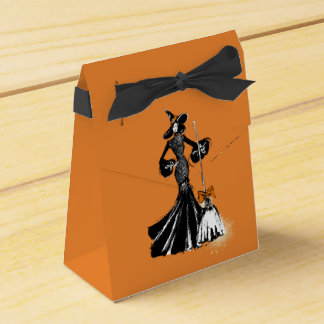 halloween fashionillustration with a broom favour box