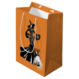 halloween fashionillustration with a broom medium gift bag