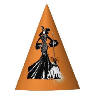 halloween fashionillustration with a broom party hat