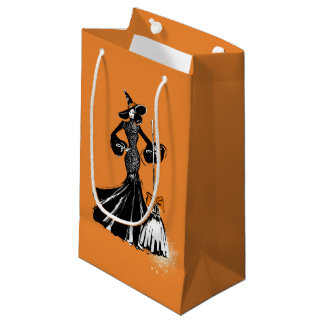 halloween fashionillustration with a broom small gift bag