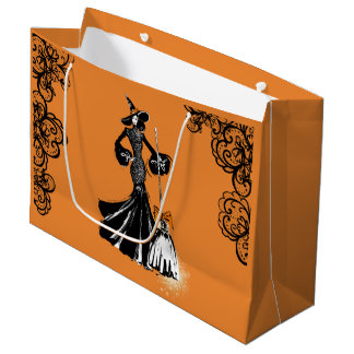 halloween fashionillustration with black lace large gift bag