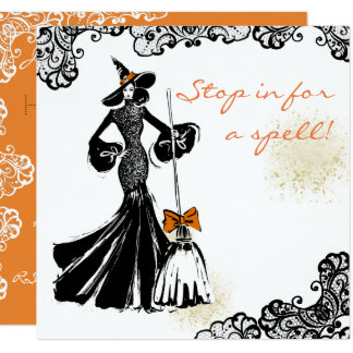 halloween fashionillustration with lace pattern card