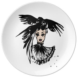 halloween fashonillustration with ravens plate