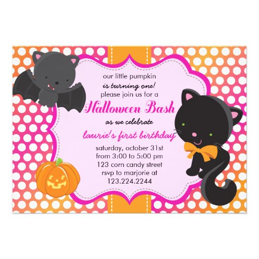 Halloween First Birthday Little Bat, Cat & Pumpkin Invites