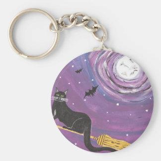 Halloween Flying Black Cat Key Ring