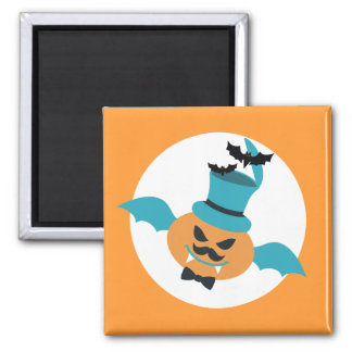 Halloween flying pumpkin bat mustache bow top hat fridge magnet