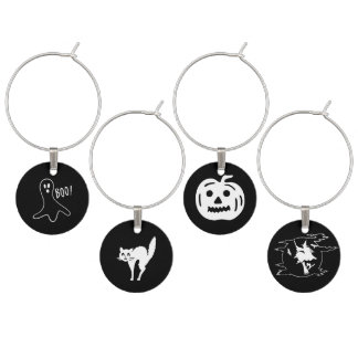 Halloween Fonts Set - Witch, Ghost, Cat, Pumpkin Wine Glass Charms