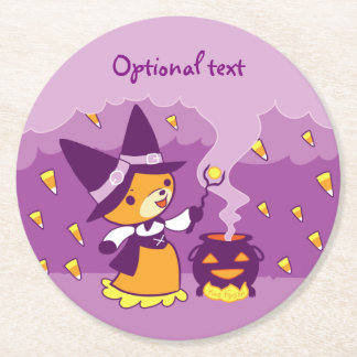 Halloween Fox Witch Summoning Candy Round Paper Coaster