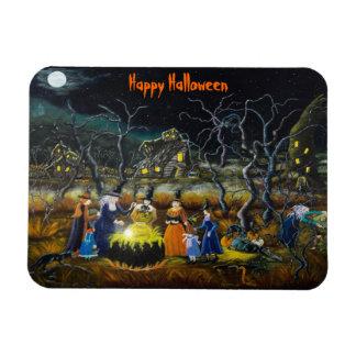 Halloween fridge magnet witches around cauldron