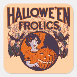 Halloween Frolics pumpkin girl Square Sticker