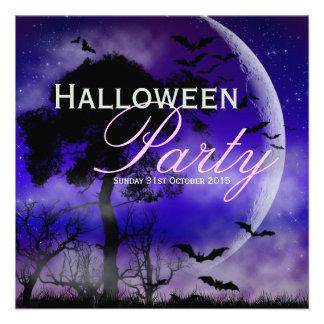 Halloween Full Moon Bats Nightsky Invitation