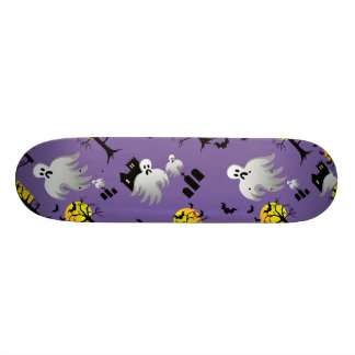 Halloween Full Moon Ghosts on Purple Skate Board Decks