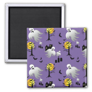 Halloween Full Moon Ghosts on Purple Square Magnet