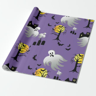 Halloween Full Moon Ghosts on Purple Wrapping Paper