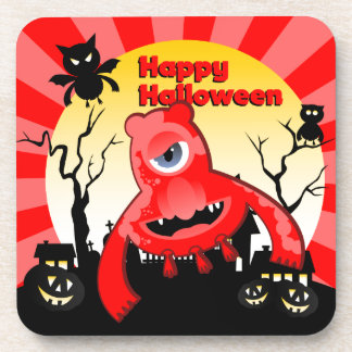 Halloween Fun with Red Monster Drink Coaster