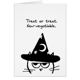Halloween Funny - Angry Cat Only Wants Treats Card