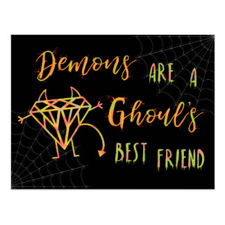 Halloween Funny Demons are a Ghouls Best Friend Postcard