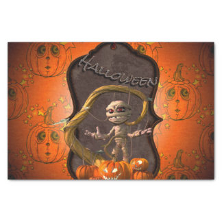 Halloween , funny mummy with pumpkin tissue paper