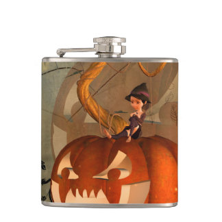 Halloween, funny pumpkin with cute witch hip flask