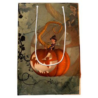 Halloween, funny pumpkin with cute witch medium gift bag